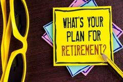 Textotez l'apparence de signe ce qui EST votre plan pour la question de retraite La photo conceptuelle a pensé tous les plans qua Image stock