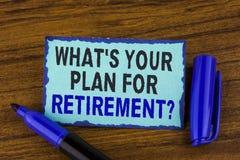 Textotez l'apparence de signe ce qui EST votre plan pour la question de retraite La photo conceptuelle a pensé tous les plans qua Photographie stock