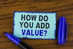 Textotez l'apparence de signe comment vous ajoutez la question de valeur La photo conceptuelle apportent le progrès d'affaires co photographie stock