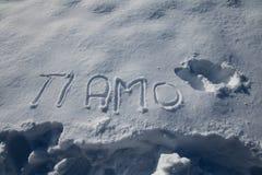 Textotez le ` d'AMO de Ti de ` de mot dans la main de langue italienne écrite sur le fond neigeux Images libres de droits