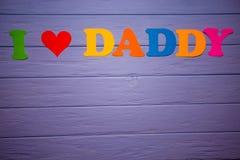 Textotez le ` de papa d'amour du ` I de l'alphabet de papier coloré Images stock