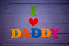 Textotez le ` de papa d'amour du ` I de l'alphabet de papier coloré Images libres de droits