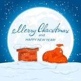 Textotez le Joyeux Noël et le sac de Santa sur le toit Photographie stock libre de droits