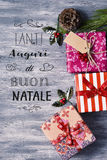 Textotez le natale de tanti auguri di buon, Joyeux Noël en italien Images stock