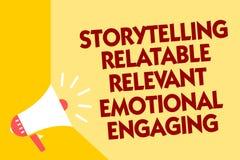 Textotez le signe montrant à fabulation s'engager émotif approprié racontable Haut-parleur conceptuel de mégaphone de contes de s illustration stock
