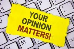 Textotez le signe montrant à vos sujets d'opinion l'appel de motivation Les commentaires conceptuels de rétroaction de client de  image libre de droits