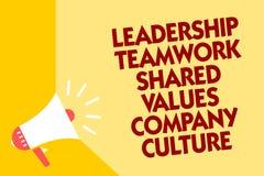Textotez le signe montrant la culture d'entreprise de valeurs partagée par travail d'équipe de direction Yel conceptuel de haut-p illustration de vecteur