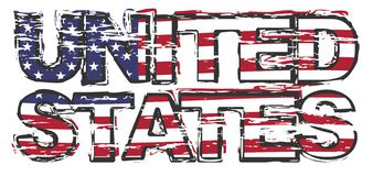 Textotez les ETATS-UNIS avec le drapeau américain sous lui, regard grunge affligé illustration de vecteur