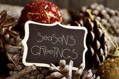 Textotez les salutations de saisons, les cônes de pin et les babioles Image stock