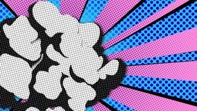 Textsprache-Blase Knall Art Style des klaren leeren Booms komischer Leeren Sie wow Ballon Blauer Hintergrund der Mitteilungswolke stock abbildung