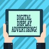 Texttecken som visar annonsering för Digital skärm Det begreppsmässiga fotoet framför ett kommersiellt meddelande genom att använ royaltyfri illustrationer