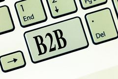 Texttecken som visar B2B Begreppsmässigt fotoutbyte av information om produktservice mellan komrets för affärer E royaltyfria bilder