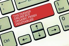 Texttecken som visar bonden Online Buy Organic nya grönsaker Tangent för tangentbord för mat för begreppsmässigt fotoköp sund royaltyfri foto