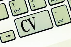 Texttecken som visar CV Begreppsmässigt liv för fotojobbsökaren erfar utbildningsfärdighetexpertis och sakkunskap royaltyfri bild