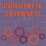 Texttecken som visar den industriella internet Begreppsmässigt fotobruk av internet av saker i färgrik kugge för industriella sek vektor illustrationer