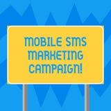 Texttecken som visar den mobila Sms marknadsföringsaktionen Det begreppsmässiga fotoet som annonserar kommunikationsbefordranakti arkivbild