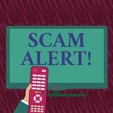 Texttecken som visar den Scam varningen Olagligt trick för begreppsmässigt foto vanligt med avsikt av att få pengar från uppvisni vektor illustrationer