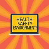 Texttecken som visar den vård- säkerhetsmiljön Begreppsmässigt fotomiljöskydd och säkerhet på den personliga arbetsbärbar datorbi arkivbilder
