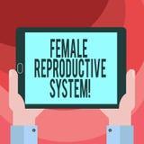 Texttecken som visar det kvinnliga reproduktiva systemet Begreppsmässig fotoansvarig i reproduktion av ny avkommaHu analys stock illustrationer