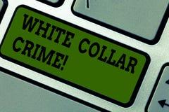 Texttecken som visar det vita kragebrottet Det begreppsmässiga fotoet ser ekonomiskt motiverat icke våldsamt brott vid affär royaltyfria bilder