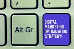 Texttecken som visar Digital som marknadsför Optimizationstrategi Socialt massmedia för begreppsmässigt foto som annonserar den S arkivbild