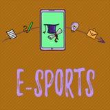 Texttecken som visar e-sportar Spelade den multiplayer videospelet för det begreppsmässiga fotoet konkurrenskraftigt för åskådare royaltyfri illustrationer