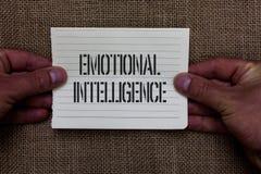Texttecken som visar emotionell intelligens Förhållanden för handtag för begreppsmässig fotosjälv och för social medvetenhet väll royaltyfri foto