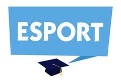 Texttecken som visar Esport Spelade den multiplayer videospelet för det begreppsmässiga fotoet konkurrenskraftigt för åskådare oc royaltyfri illustrationer