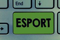 Texttecken som visar Esport Spelade den multiplayer videospelet för det begreppsmässiga fotoet konkurrenskraftigt för åskådare oc royaltyfri foto