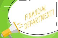Texttecken som visar finansiell avdelning Begreppsmässig fotodel av en organisation som analysisages dess vita pengarmellanrum stock illustrationer