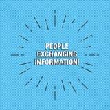 Texttecken som visar folk som utbyter information Begreppsmässigt foto som passerar information från en till en andra tunna strål vektor illustrationer