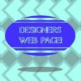 Texttecken som visar formgivare webbsidan Begreppsmässigt foto någon som förbereder innehållet för oval färg för Websitessidamell royaltyfri illustrationer