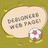Texttecken som visar formgivare webbsidan Begreppsmässigt foto någon som förbereder på innehållet för boll för Websitessidafotbol stock illustrationer