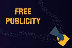 Texttecken som visar fri publicitet För marknadsföringsmassmedia för begreppsmässigt foto redaktörs- befordrings- PR arkivfoton
