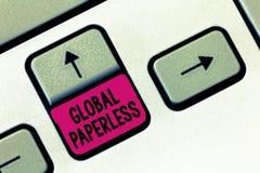 Texttecken som visar globalt Paperless Begreppsmässigt foto som går för teknologimetoder som email i stället för papper arkivbilder