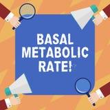 Texttecken som visar grundläggande metabolisk hastighet Begreppsmässig nivå för fotominimumenergi att kräva för att tåla den livs royaltyfri illustrationer