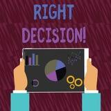 Texttecken som visar högert beslut Begreppsmässigt foto som gör bra val, når att ha betraktat många möjlighetshänder vektor illustrationer