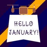 Texttecken som visar Hello Januari Begreppsmässigt foto hälsa eller en varm välkomnande till den första månaden av året royaltyfri illustrationer