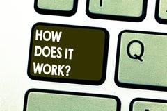 Texttecken som visar hur gör det Workquestion Begreppsmässiga fotoanvisningar för att använda en apparat som frågar det konsulter arkivfoton