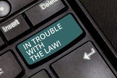 Texttecken som visar i problem med lagen För problembrott för begreppsmässigt foto lagliga frågor för rättvisa för brottsliga han royaltyfri bild