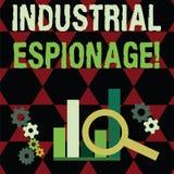 Texttecken som visar industriellt spionage E stock illustrationer