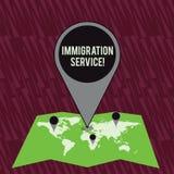 Texttecken som visar invandringservice Begreppsmässig fotoansvarig för lag angående invandrare och invandring royaltyfri illustrationer