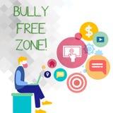 Texttecken som visar jättebra fri zon Begreppsmässigt foto som skapar mannen för liv för högskola för fri skola för missbruk som  royaltyfri illustrationer