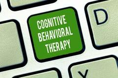 Texttecken som visar kognitiv beteende- terapi Psykologisk behandling för begreppsmässigt foto för psykiska störningar royaltyfri bild