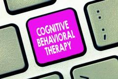 Texttecken som visar kognitiv beteende- terapi Psykologisk behandling för begreppsmässigt foto för psykiska störningar arkivfoton