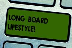 Texttecken som visar lång brädelivsstil Begreppsmässigt foto som får hakat med en tangent för tangentbord för longboardsportutrus stock illustrationer