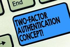 Texttecken som visar legitimationsbegrepp för två faktor E royaltyfri fotografi