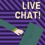 Texttecken som visar Live Chat Begreppsmässig fotorengöringsdukservice som låter affärer eller vänner meddela att rusa stock illustrationer