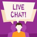 Texttecken som visar Live Chat Begreppsmässig fotorengöringsdukservice som låter affärer eller vänner meddela den ansiktslösa man vektor illustrationer