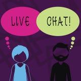Texttecken som visar Live Chat Begreppsmässig fotorengöringsdukservice som låter affärer eller vänner meddela den skäggiga mannen royaltyfri illustrationer